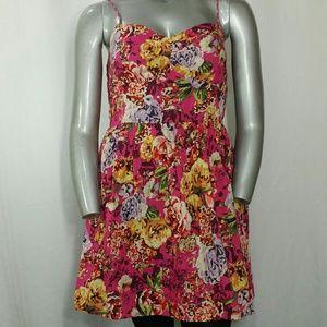 Xhilaration Pink Floral Cotton Summer Dress XXL